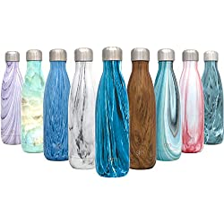 Simple Modern 17oz Wave Water Bottle - Stainless Steel Double Wall Vacuum Insulated Reusable Leakproof Pattern: Arctic Ice