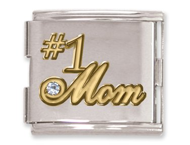 Number 1 Italian Charm (Clearly Charming Mega Link Number 1 Mom Italian Charm)