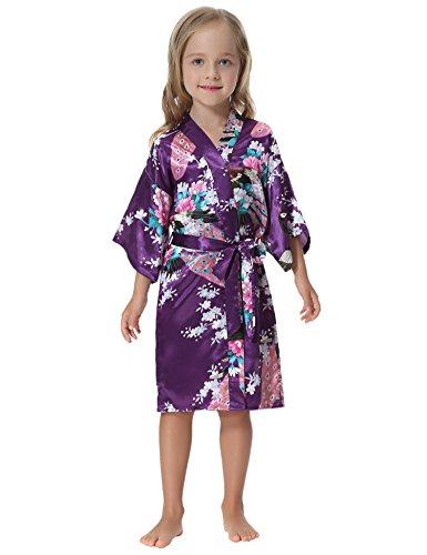 Aibrou Girls' Peacock Satin Kimono Robe Bathrobe Nightgown For Party Wedding,6,Dark Purple