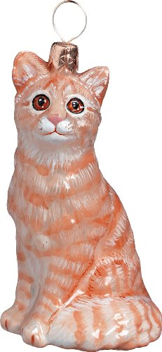 The Pet Set Blown European Glass Cat Ornament by Joy to the World Collectibles - Orange American Tabby Cat