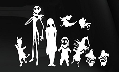 Price comparison product image Disney Nightmare Before xmas Jack Skellington And Family Vinyl For Laptops And Windows Halloween Decal Sticker 7 Inches Silver