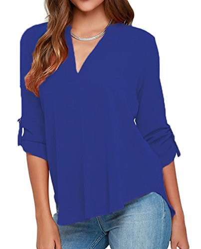 al V Neck Cuffed Sleeves Solid Chiffon Blouse Top Blue X-Large ()