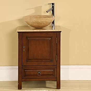 Silkroad Exclusive Travertine Single Sink Bowl Vessel Bathroom Vanity  Furniture, 22 Inch