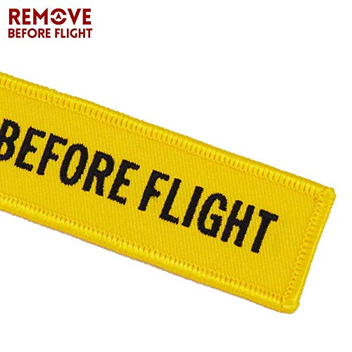 Amazon.com: Key Rings Aviation Gift Remove Before Flight Key Fob llaveros Important Things Tag Yellow Embroidery OEM Key Chian Jewelry llavero 5PCS - (Color ...