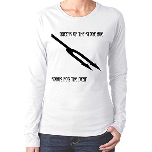 NolanO Women's Queens of The Stone Age Songs for The Deaf Long Sleeve T Shirt White S