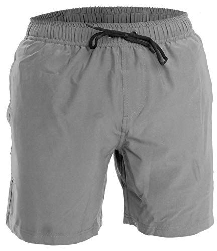 (Men's Swim Trunks and Workout Shorts - L - Gray - Perfect Swimsuit or Athletic Shorts for The Beach, Lifting, Running, Surfing, Pool, Gym. Boardshorts, Swimwear/Swim Suit for Adults, Men's Boys)