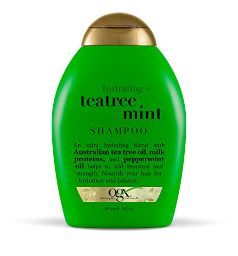 OGX Shampoo Hydrating TeaTree Mint, (1) 13 Ounce Bottle, Moisturizing Shampoo with Australian Tea Tree Oils, Paraben Free, Sulfate Free, Sustainable Ingredients, (Tea Tree Shampoo)