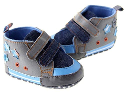 Dantiya-Chaussures Premiers Pas avec étoile-antidérapant-scratch-jointif-Chausson coton pour Bébé garçon 0~18 Mois