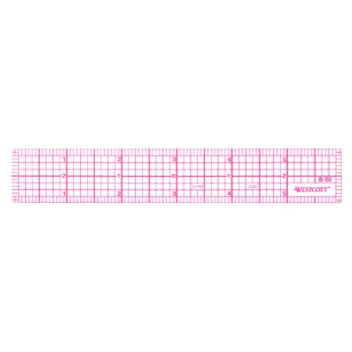 Westcott 8ths 6-Inch Beveled Transparent Ruler (B-50) (Clear Plastic Ruler)