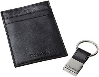 Calvin Klein Men's Leather Front Pocket Wallet With Money Clip,Black,One Size