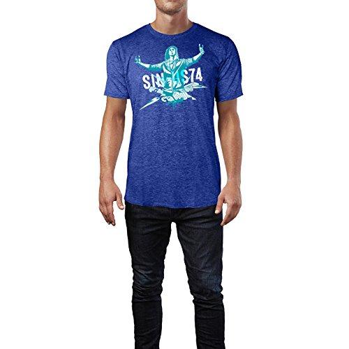 SINUS ART ® Grunge Gang Design mit Mann Herren T-Shirts in Vintage Blau Cooles Fun Shirt mit tollen Aufdruck