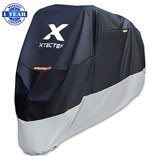 XYZCTEM Motorcycle Cover-All Season Waterproof Outdoor Protection - Fit up to 116 inch Tour Bikes, Choppers and Cruisers(XXXL,Black& Sliver) ()