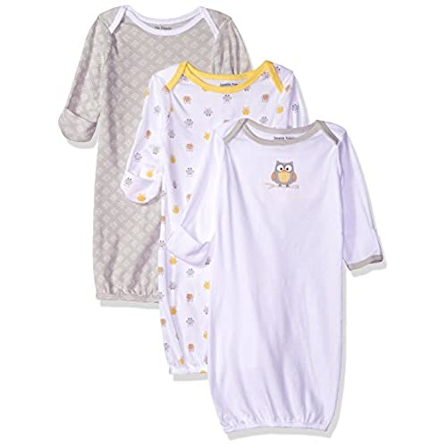 Luvable Friends Unisex 3 Pack Cotton Gown, Yellow Owl, 0-6 Months