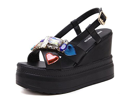 PBXP 5 cm Piattaforma Wedge 10.5 cm Heel Colorful Strass Decorazioni Sling-back Cinture Fibbia Outsoles antiscivolo Sandali Donna Elegante , black , 36