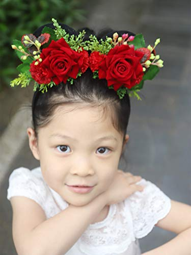 Missgrace Baby Girls Red Floral Minnie Mickey Mouse Ears Hair Jewelry Headpiece For Boys and Girls Birthday Party Mom Baby Hairs Accessories Girl Party Decoration Baby Shower Halloween Hair Accessorie