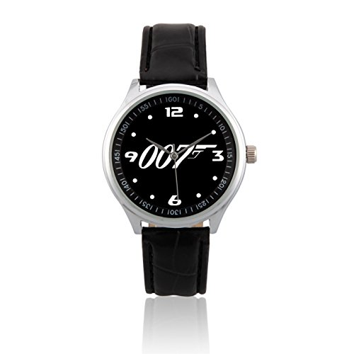 Happy New Year Gifts Wristwatches Leather Band USFSL170 James Bond 007 Logo Black - James Years Bond
