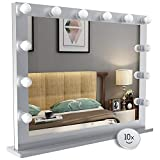 Nitin Hollywood Style Lighted Vanity Mirror, Tabletop Makeup Mirror with Dimmer Lights, Touch control Large Cosmetic Mirror (Silver)