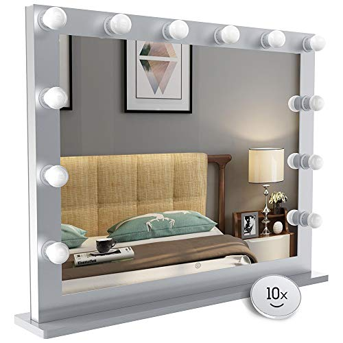 (Nitin Hollywood Style Lighted Vanity Mirror, Tabletop Makeup Mirror with Dimmer Lights, Touch control Large Cosmetic Mirror (Silver) )