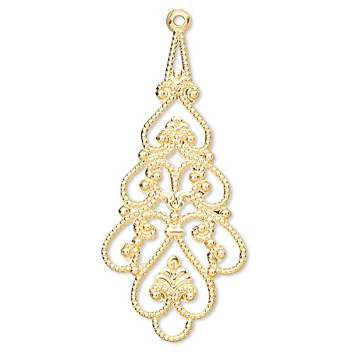(10 Plated Brass Metal Filigree Drop Chandelier Earring & Pendant Finding Charms (Gold Plated))