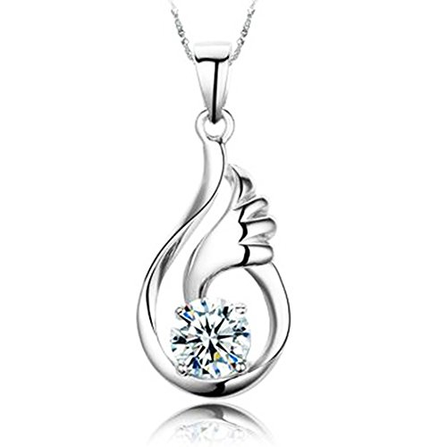 sephla 14k White Gold Plated 1ct Cubic Zirconia Angel Wing Pendant Necklace for Women