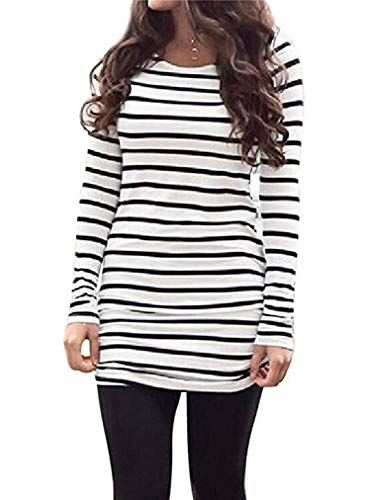 Sherosa Womens Basic Casual Long Sleeve Slim Fit T Shirt Dress Tunic Top (L, Black and White) ()