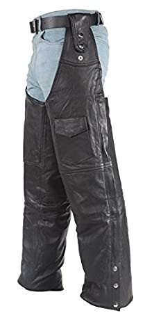 Leather Motorcycle Chaps with Belt Hook Strap 2XL