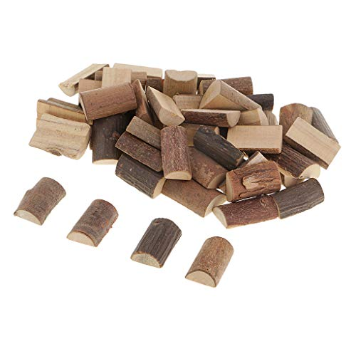 Fityle 50 Pieces Natural Wood Half Cut Round Log Slices Tree Bark Wooden Blocks for Wedding Party Decoration Handmade DIY Craft Supplies