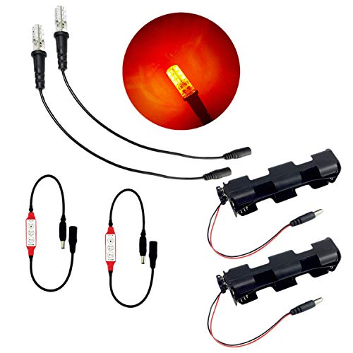 2 pack ember orange fire effect flame simulation LED light kit with flicker effects control for campfire props theatrical scenery fake flames glowing ()