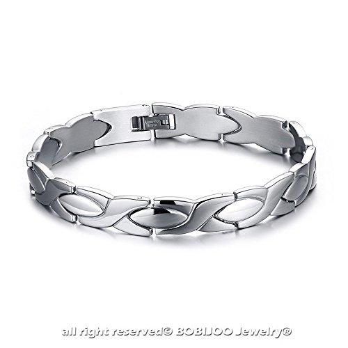BOBIJOO Jewelry - Bracelet Bijou Gourmette Homme Acier Inoxydable Argenté Mailles Plates Cadeau