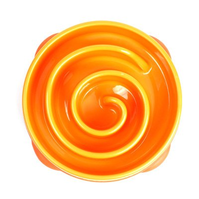 orange Pet Bowl, Anti-Scramble Dog Bowl to Eat Dog Basin golden Retriever Rice Bowl Large Large Dogs Pet Supplies Slow Food Bowl Food Bowl (color   orange)