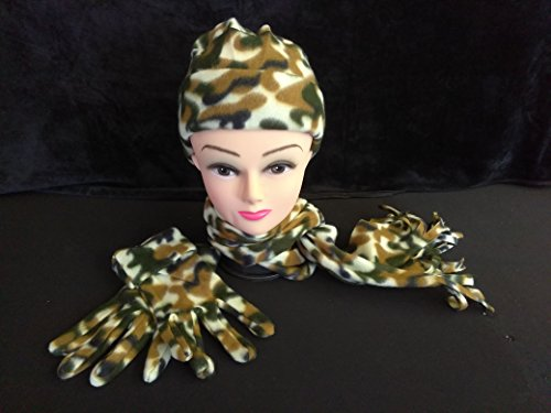 Kids Teens Adults GREEN Camouflage Fleece Beanie Skull Cap Glove Scarf 3 Piece Set Winter Cold