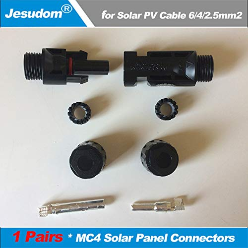 Gimax 1 Pair MC4 Solar Connector Used for PV Solar Panel Install Solar Charger Controller & Gird Tied Inverter Grid off Inverter - (Package: 100Pcs & Above)