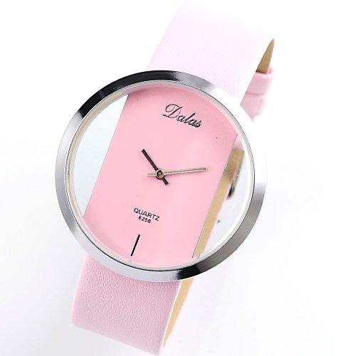 AMPM24 Pink Leather Transparent Dial Fashion Lady Girl Wrist Quartz Watch Gift WAA028