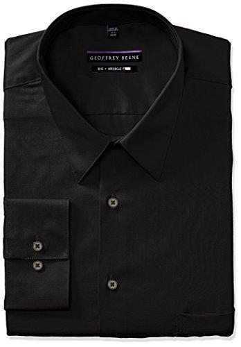 Geoffrey Beene Men's Sateen Big Fit Solid Point Collar Dress Shirt, Black, 19