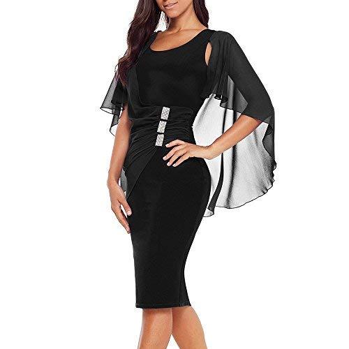 Rllyer Womens Plus Size Chiffon Ruffled Charming Trumpet Sleeves Slim Soft Round Neck Pencil Party Dress(XL,XXL,XXXL) ((US24-26) XXXL, Black)