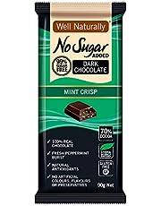 Well Naturally No Sugar Added Mint Crisp Dark Chocolate Bar 90 g
