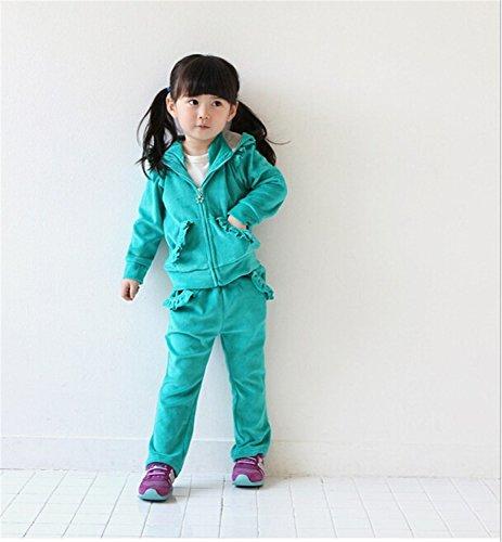 ODFAPP Adorable Girls Clothing Sets Kids Velvet Sports Suit Baby Children Velour Twinset: Long Sleeve Sweatshirt+Pants blue6 Cool Velour Jumper Set