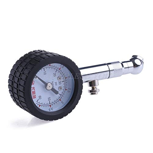r Vehicle Automobile Tire Air Pressure Gauge 0 60 Psi Dial Meter - Natural Heavy Tank Line Transmission Cylinder Flair Keychain Puller Mini Sports Pressure Hvac Tyre Mou ()