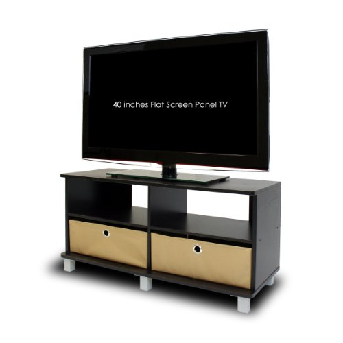 Furinno 11156EX/BR Entertainment Center w/2 Bin Drawers, (Digital Corner Workstation)