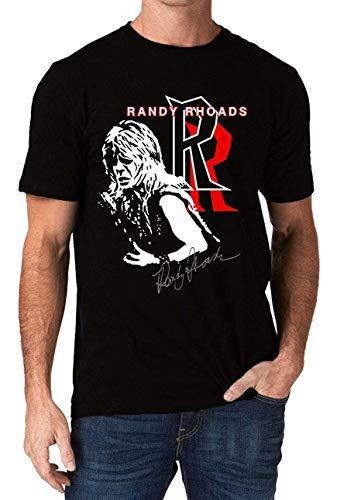 DePeal Randy Rhoads Autograph Ozzy Heavy Metal Rock Logo T-Shirt Black