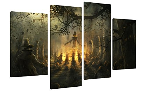 [NAN Wind 4Pcs Scary Halloween Decoration Wall Art Dark Forest Halloween Witch Wall Decorations Festive Decorations Poster Paintings on Canvas Stretched and Framed Ready to Hang for Home] (Scary Halloween Witches)