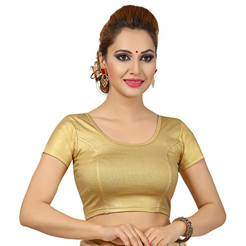 Choli Blouse - TrendyFashionMall Short Sleeve Gold Lycra Stretchable Blouse L(42)
