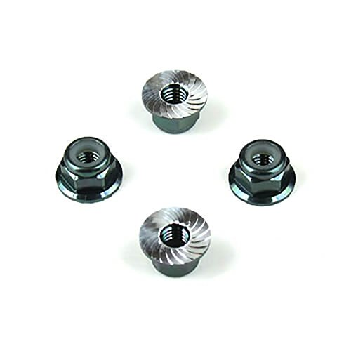 Flanged Lock Nut Aluminum (TEKNO RC LLC M4 Locknuts Aluminum Flanged Serrated, Black (4))