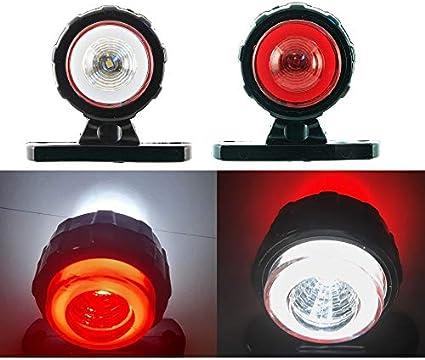 24/7Auto 4 x 12/24V rojo blanco neón anillo lateral marcador LED luces para pickup van bus remolque chasis