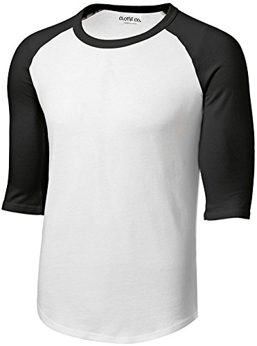 2005 Classic Logo T-shirt - Clothe Co.. Men's 3/4 Sleeve 100% Cotton Baseball Jersey T-Shirt, White/Black, 6XL