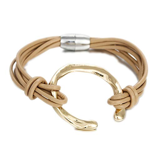 TILLY ANDERSON Leather Women Bracelet Jewelry Fashion Round Metal Charm Bohemian Multilayer Wrap Bracelets & - Anderson Jewelry Bracelets
