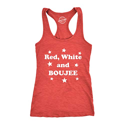 Womens Red White and Boujee Funny Shirts Workout Sleeveless Ladies Fitness Tank Top (Heather Red) - ()