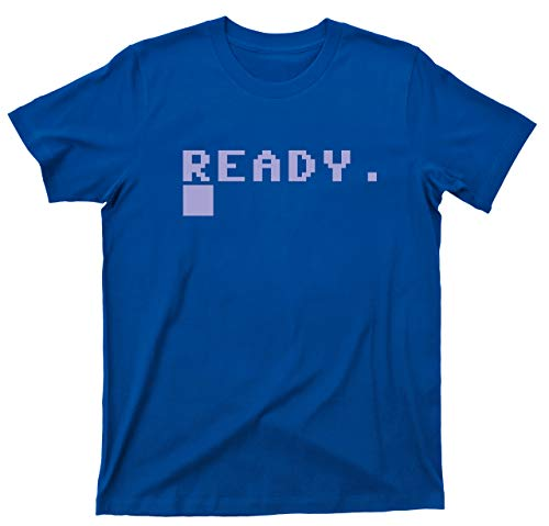 Men's Commodore 64 BASIC Ready T Shirt Boot Screen - blue or navy