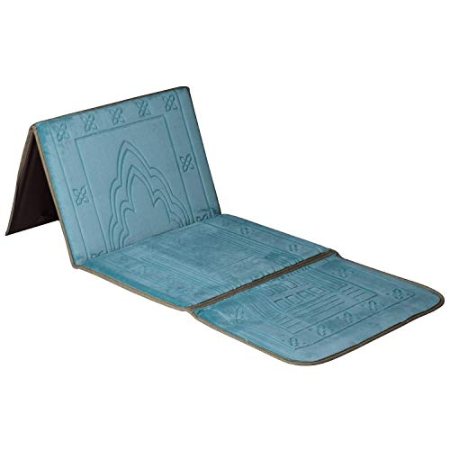 Prayer Folder - Kinsky Prayer Rug,Turkish Folder Prayer Rugs Janamaz Muslim Prayer Mat Ramadan (Lake Blue)