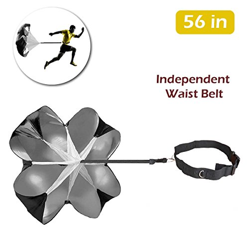 (TRIWONDER 56 inch Speed Training Resistance Parachute Running Sprint Chute for Soccer Football Sport Power Speed Training & Fitness Core Strength Training (Black - 56in))